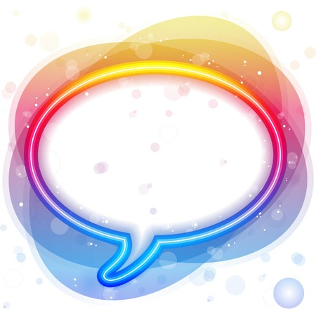 communicating:  Rainbow Neon Lights Speech Bubble Illustration
