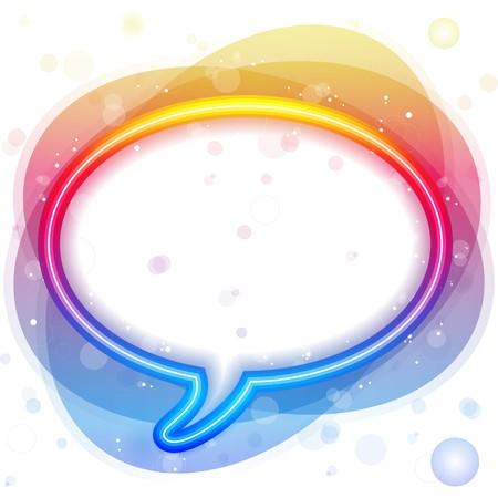 chat bubbles:  Rainbow Neon Lights Speech Bubble Illustration