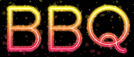 Barbecue Orange and Yellow Neon Sign Vector