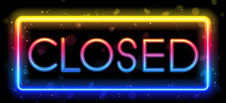 close to:  Closed Neon Sign Rainbow Color