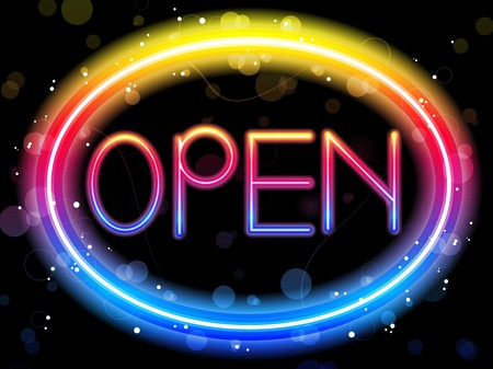 Open Neon Sign Rainbow Color Stock Vector - 7697426