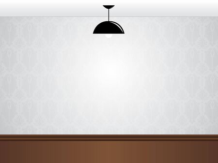 ceiling texture:   Empty white room wall with black lamp and wooden floor