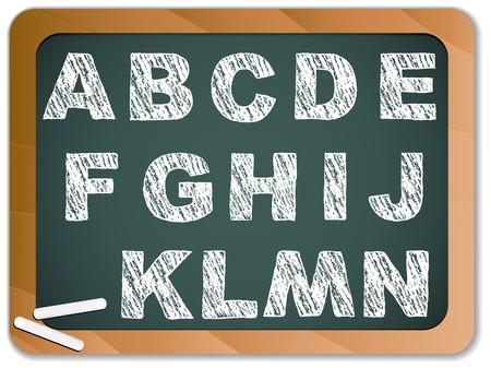 Chalk Alphabet on Blackboard Vector