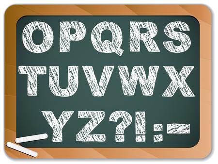 basic letters: Chalk Alphabet on Blackboard