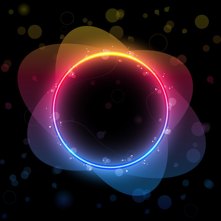 Rainbow Circle Border with Sparkles and Swirls. Stock Vector - 7743669