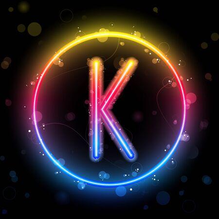 Alphabet Rainbow Lights in Circle Button Vector