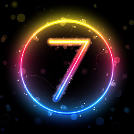 number seven:   Number Rainbow Lights  Glitter with Sparkles Illustration