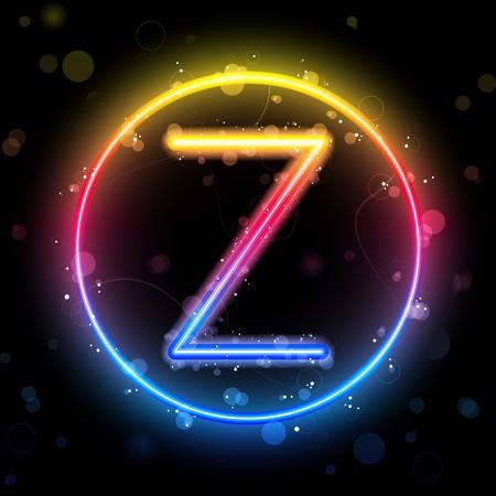 Alphabet Rainbow Lights in Circle Button Stock Vector - 7782305