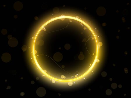 Golden Circle Border with Sparkles and Swirls. Vector