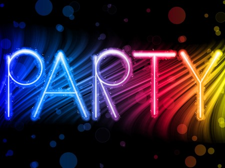 Party Abstract Colorful Waves on Black Background Vector