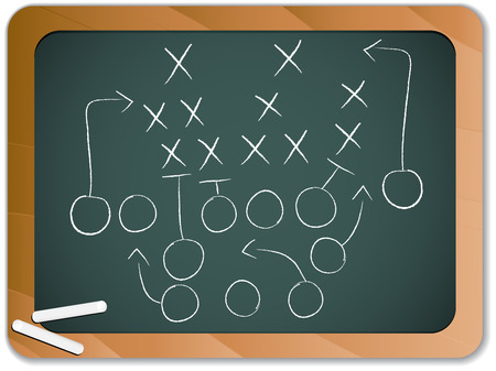 Teamwork Football Game Plan Strategy on Blackboard Vector