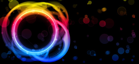 Rainbow Circle Border with Sparkles and Swirls. Stock Vector - 7841639