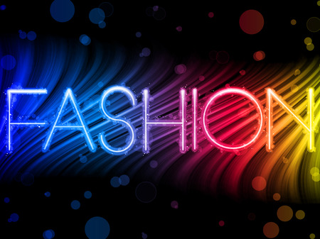 modelo en pasarela: Waves colorido abstracto de moda en fondo negro  Vectores