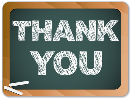 polite:  Blackboard with Thank You Message written with Chalk Illustration