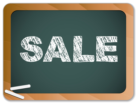 Sale written on blackboard with chalk. Stock Vector - 8147364