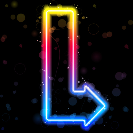 neon: Neon Arrow on Rainbow Colors with Sparkles. Illustration