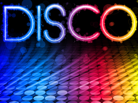 Disco Abstract Colorful Waves on Black Background Vector