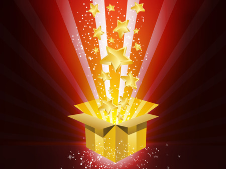 light box:  Christmas Golden Gift Box with Stars Illustration