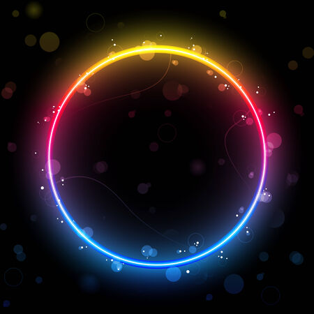 rainbow Circle Border with Sparkles and Swirls. Stock Vector - 8147380