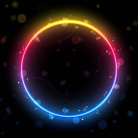 rainbow circle: rainbow Circle Border with Sparkles and Swirls.