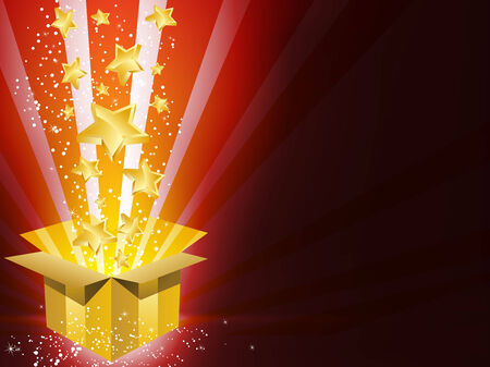 Christmas Golden Gift Box with Stars Vector