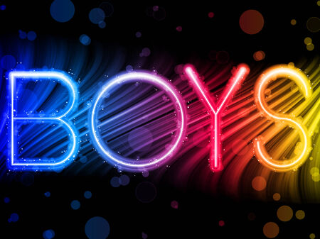 pride:  Boys   Abstract Colorful Waves on Black Background Illustration