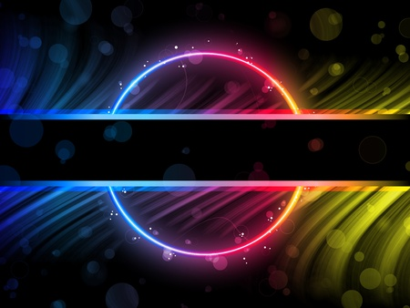 Rainbow Circle Border with Sparkles and Swirls. Vector