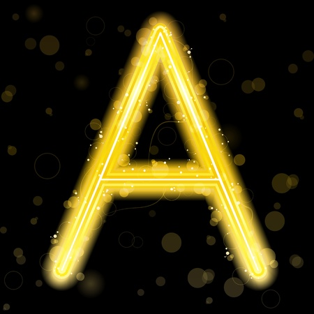 Alphabet Golden Letters with Glitter and Sparkles Stock Vector - 8302506