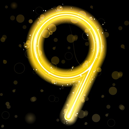 Number Golden Lights with Glitter and Sparkles Vector