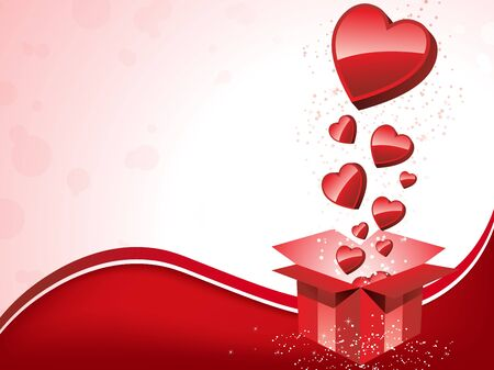 Vector - Happy Valentines Day  Gift with Hearts Vector