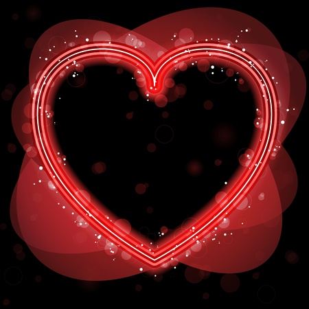 Red Heart Border with Sparkles and Swirls. Vector