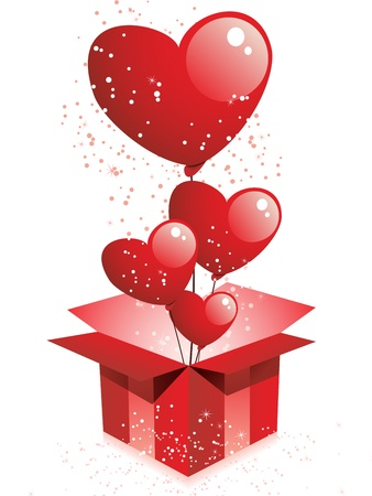 open day: Vector - Happy Valentines Day  Gift with Hearts Balloons