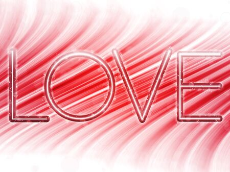Valentine Day Love Word Abstract Colorful Waves on White Background Stock Vector - 8710468
