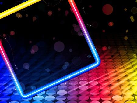 neon party:   Discoteca Abstract Square Box su sfondo nero Vettoriali