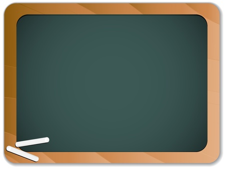 chalkboard:  Green Chalk Blackboard with Wooden Border Illustration