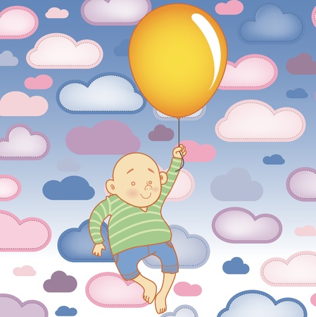 Young Child boy with balloon with Clouds Background Stock Vector - 8755723