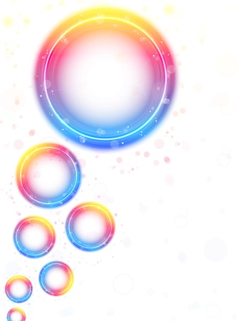 Rainbow Circle Bubbles background with Sparkles and Swirls.