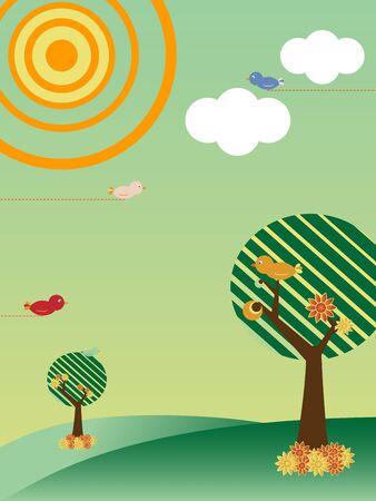 Retro Landscape with Trees and Birds Season Spring Vector