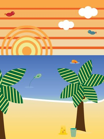 Retro Beach Landscape Season Summer Stock Vector - 8755714