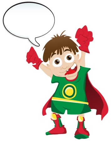 hero Boy with Speech Bubble Vector