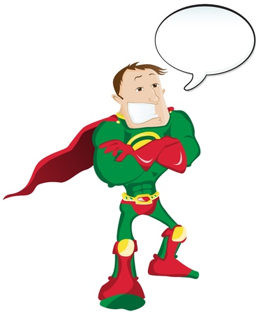 hero Man with Speech Bubble Vector