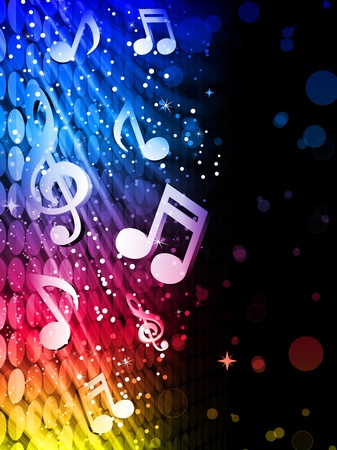 Party Abstract Colorful Waves on Black Background with Music Notes Vector