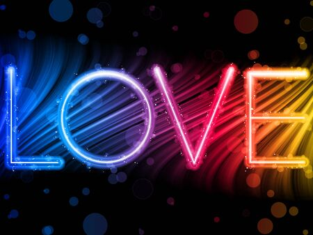 Valentine Day Love Word Abstract Colorful Waves Rainbow Background Vector