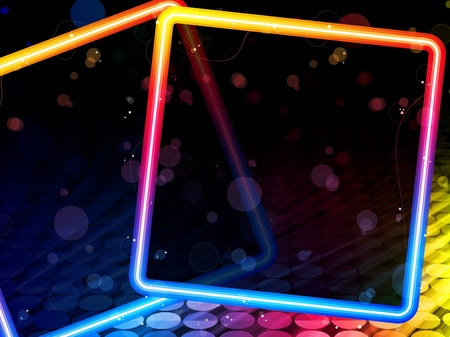 Vector - Disco Abstract Square Box on Black Background Vector