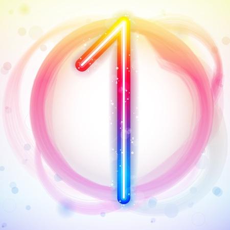 neon party: Vector - numero Rainbow luci in cerchio bianco sfondo