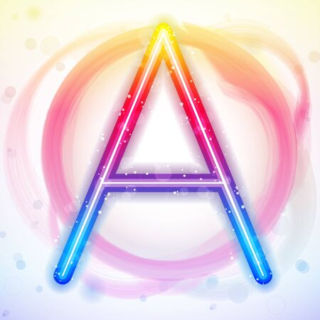 Vector - Alphabet Rainbow Lights in Circle White Background Stock Vector - 8846065