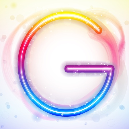 Vector - Alphabet Rainbow Lights in Circle White Background Vector
