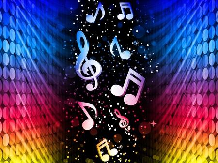 simbolos musicales:  Partido olas coloridas abstractas sobre fondo negro con notas de m�sica
