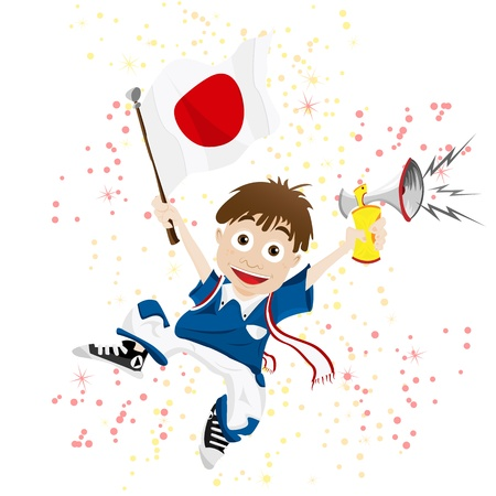 japanese flag: Japan Sport Fan with Flag and Horn
