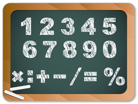 numerical value: Chalk Numbers on Blackboard Illustration